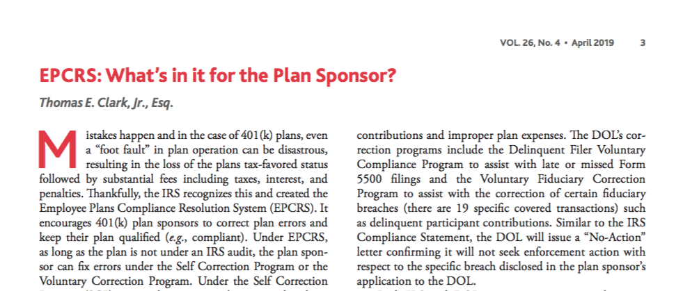 EPCRS: Whats in it for the Plan Sponsor